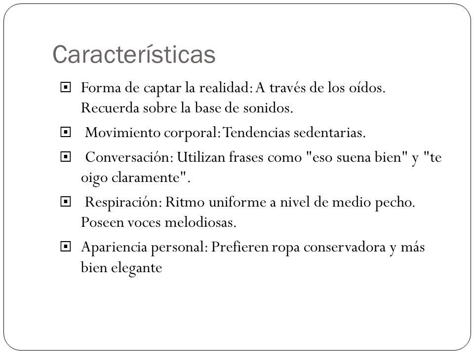 Características Forma de captar la realidad: A través de los oídos. Recuerda sobre la base de sonidos.