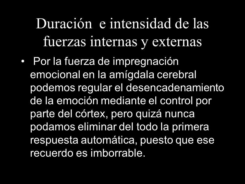 Duración e intensidad de las fuerzas internas y externas