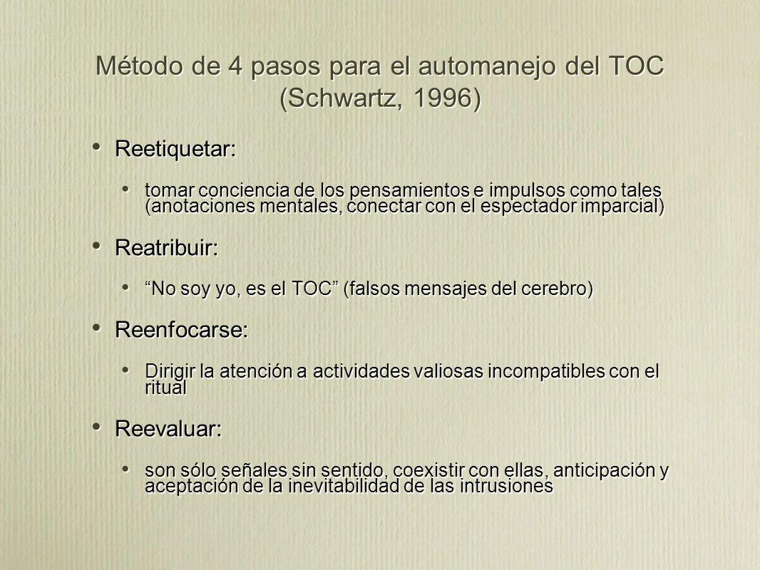 Método de 4 pasos para el automanejo del TOC (Schwartz, 1996)