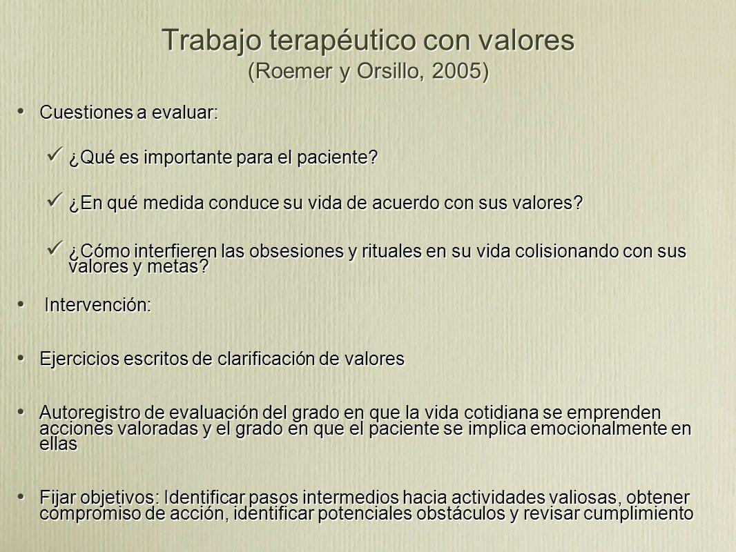 Trabajo terapéutico con valores (Roemer y Orsillo, 2005)