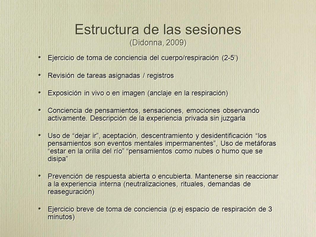 Estructura de las sesiones (Didonna, 2009)
