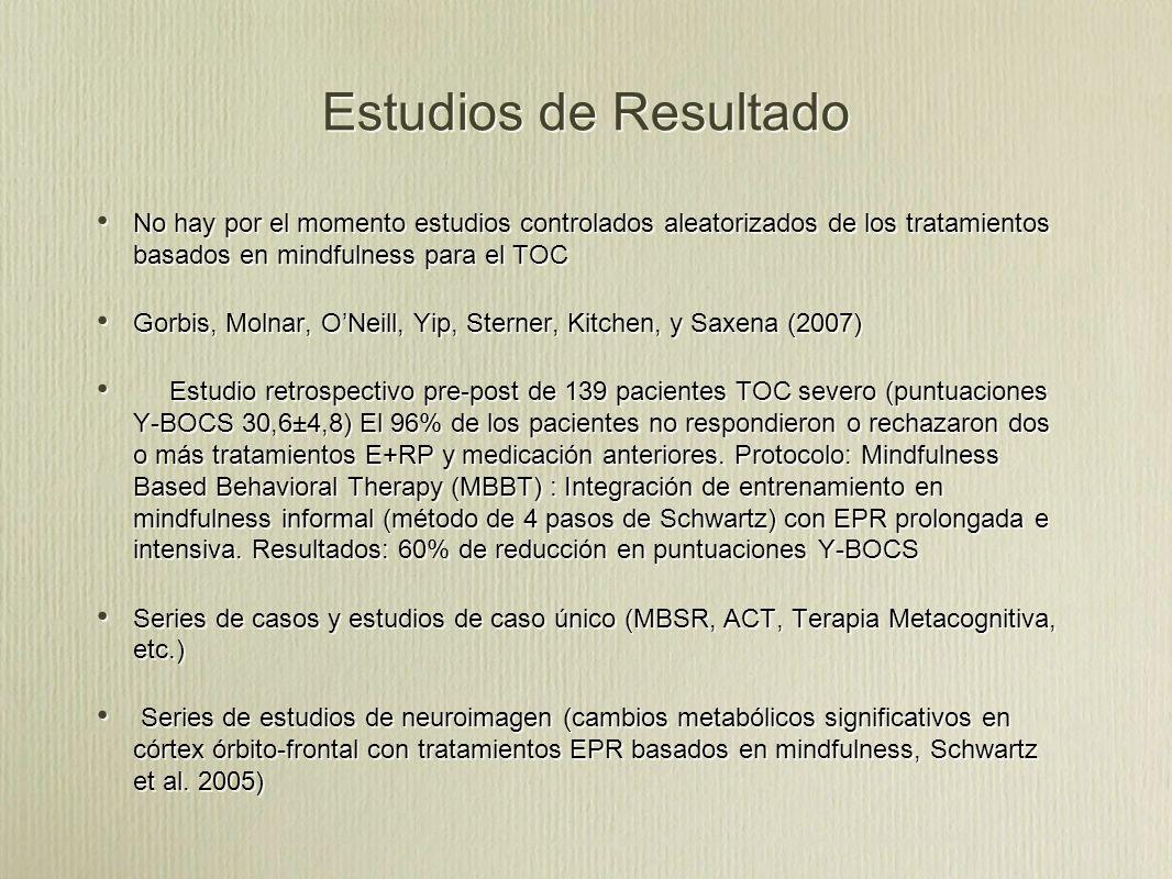 Estudios de Resultado No hay por el momento estudios controlados aleatorizados de los tratamientos basados en mindfulness para el TOC.