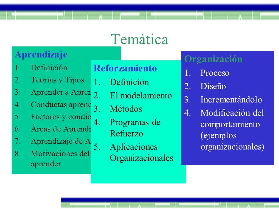 Temática Aprendizaje Organización Reforzamiento Proceso Diseño