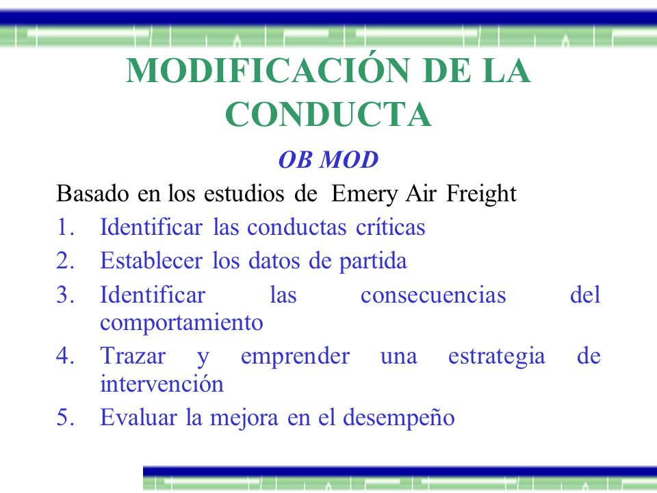 MODIFICACIÓN DE LA CONDUCTA