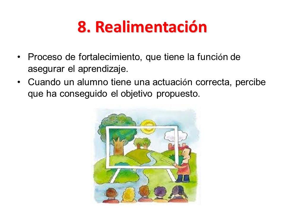 8. Realimentación Proceso de fortalecimiento, que tiene la función de asegurar el aprendizaje.