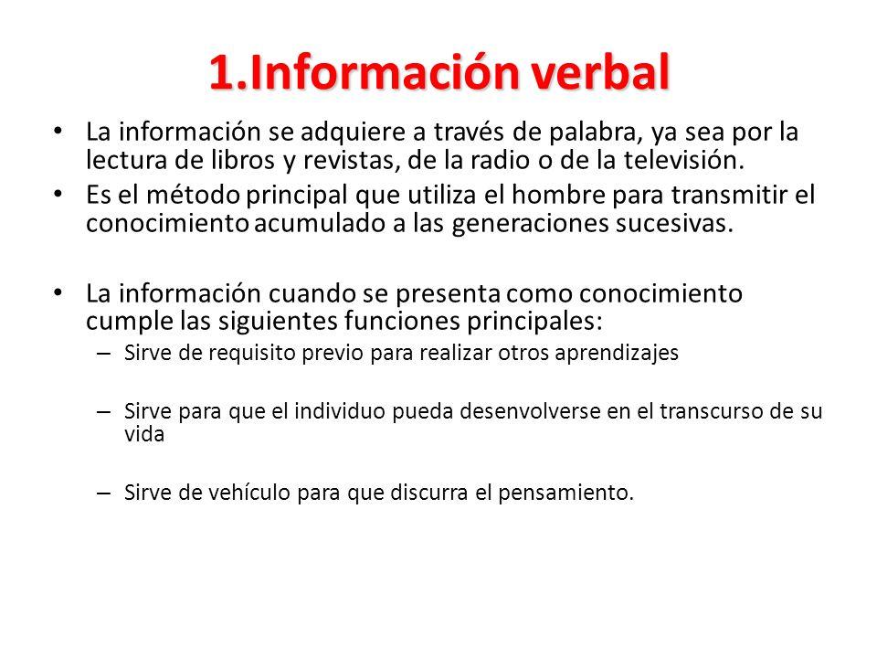1.Información verbal La información se adquiere a través de palabra, ya sea por la lectura de libros y revistas, de la radio o de la televisión.