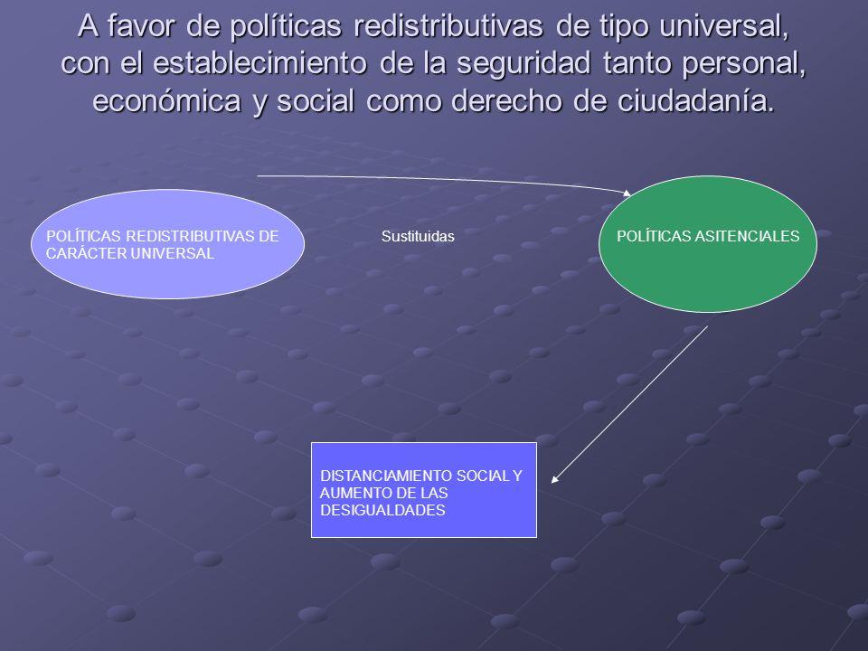 A favor de políticas redistributivas de tipo universal, con el establecimiento de la seguridad tanto personal, económica y social como derecho de ciudadanía.