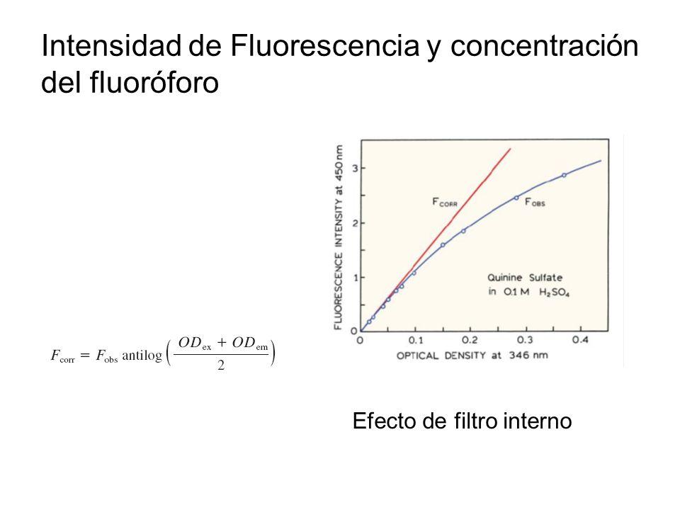 Intensidad de Fluorescencia y concentración del fluoróforo
