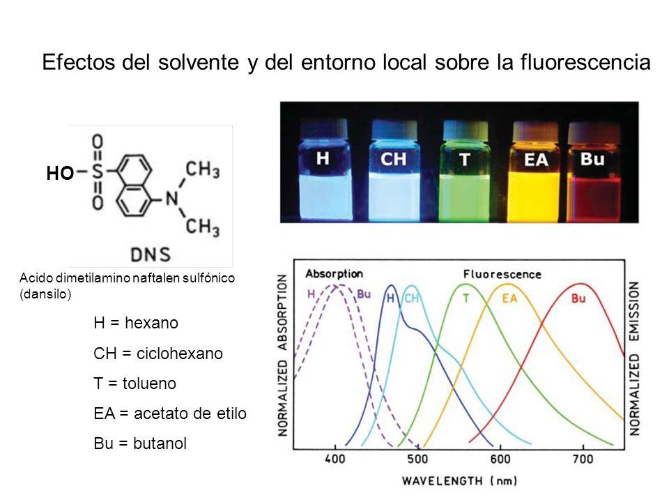 Efectos del solvente y del entorno local sobre la fluorescencia