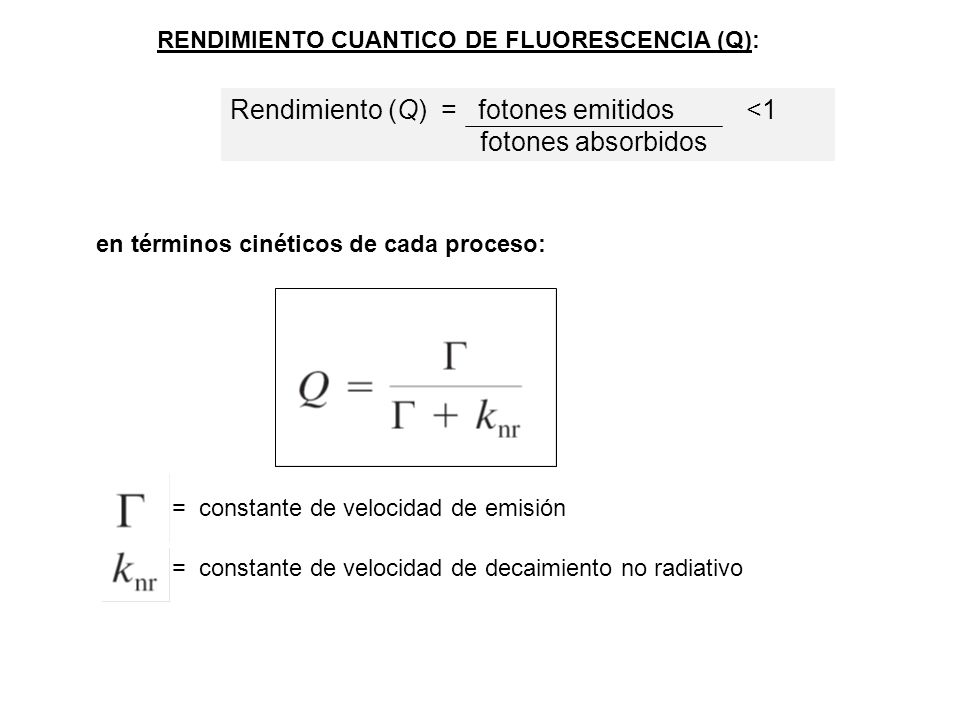 Rendimiento (Q) = fotones emitidos <1 fotones absorbidos
