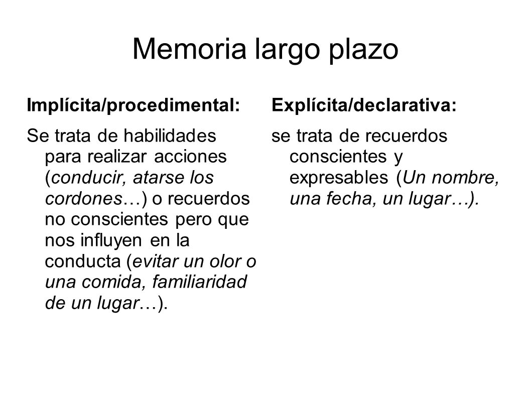 Memoria largo plazo Implícita/procedimental: