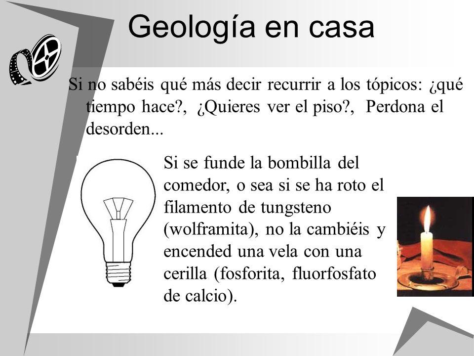 Geología en casa Si no sabéis qué más decir recurrir a los tópicos: ¿qué tiempo hace , ¿Quieres ver el piso , Perdona el desorden...