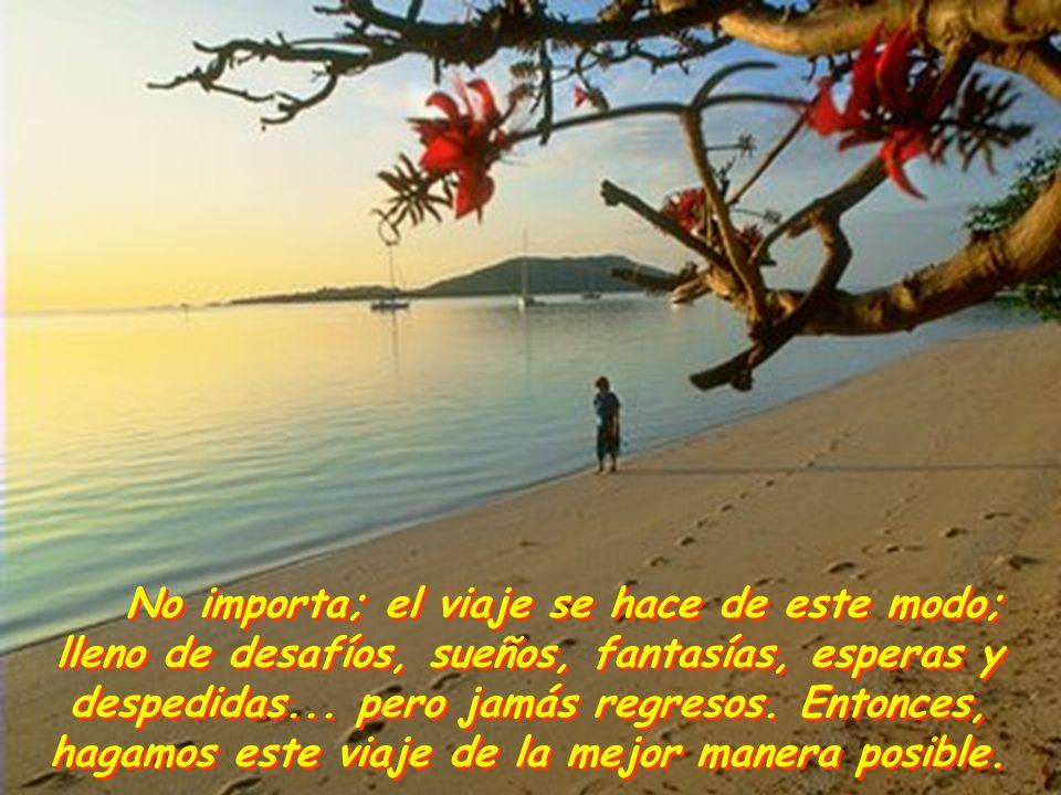 No importa; el viaje se hace de este modo; lleno de desafíos, sueños, fantasías, esperas y despedidas...