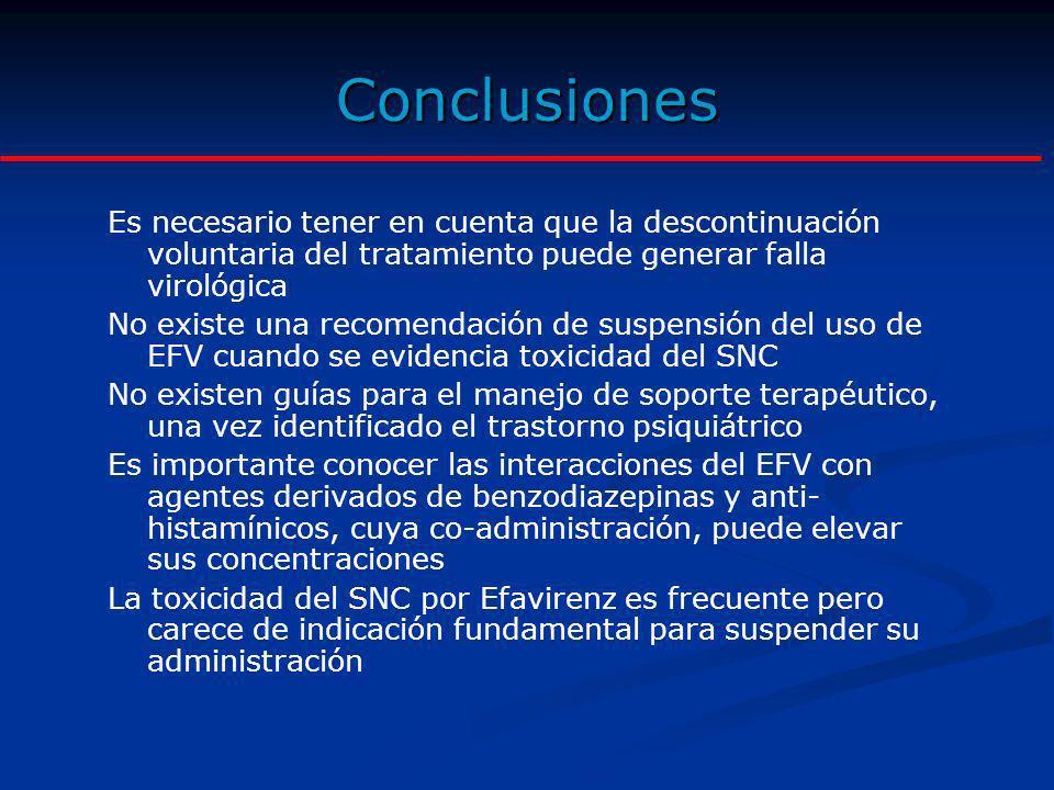 Conclusiones Es necesario tener en cuenta que la descontinuación voluntaria del tratamiento puede generar falla virológica.