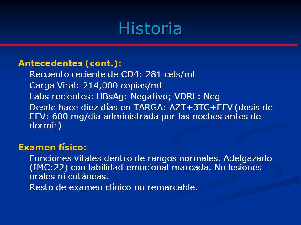 Historia Antecedentes (cont.): Recuento reciente de CD4: 281 cels/mL