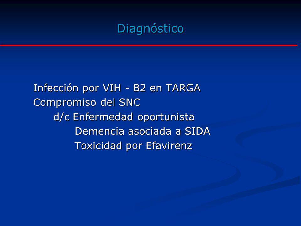 Diagnóstico Infección por VIH - B2 en TARGA Compromiso del SNC