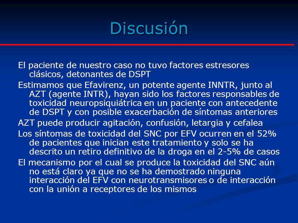 Discusión El paciente de nuestro caso no tuvo factores estresores clásicos, detonantes de DSPT.