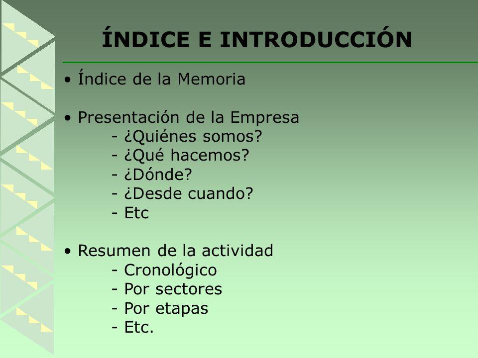 ÍNDICE E INTRODUCCIÓN Índice de la Memoria Presentación de la Empresa