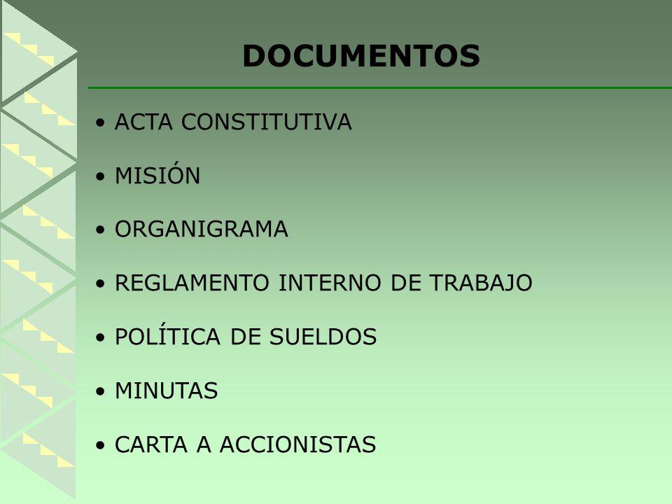 DOCUMENTOS ACTA CONSTITUTIVA MISIÓN ORGANIGRAMA