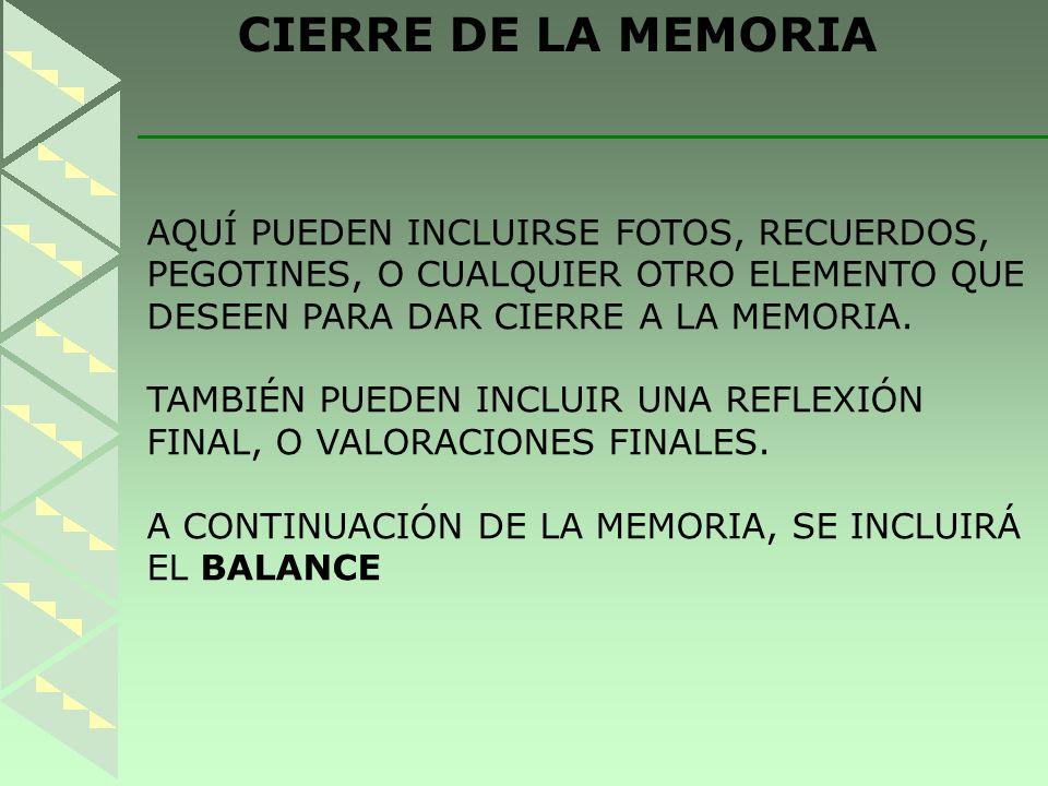 CIERRE DE LA MEMORIA AQUÍ PUEDEN INCLUIRSE FOTOS, RECUERDOS, PEGOTINES, O CUALQUIER OTRO ELEMENTO QUE DESEEN PARA DAR CIERRE A LA MEMORIA.