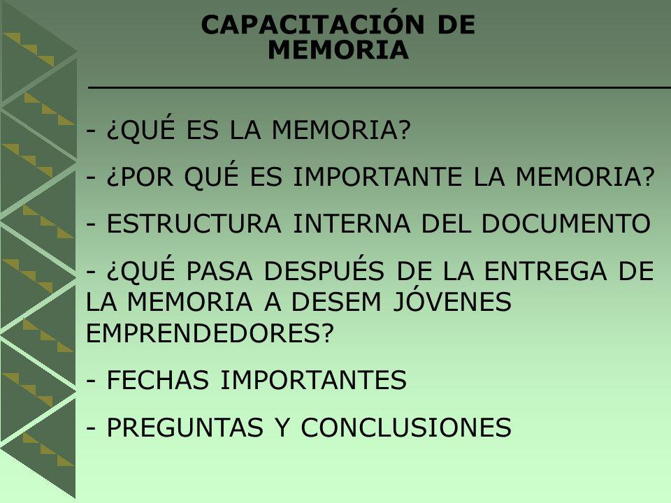 CAPACITACIÓN DE MEMORIA