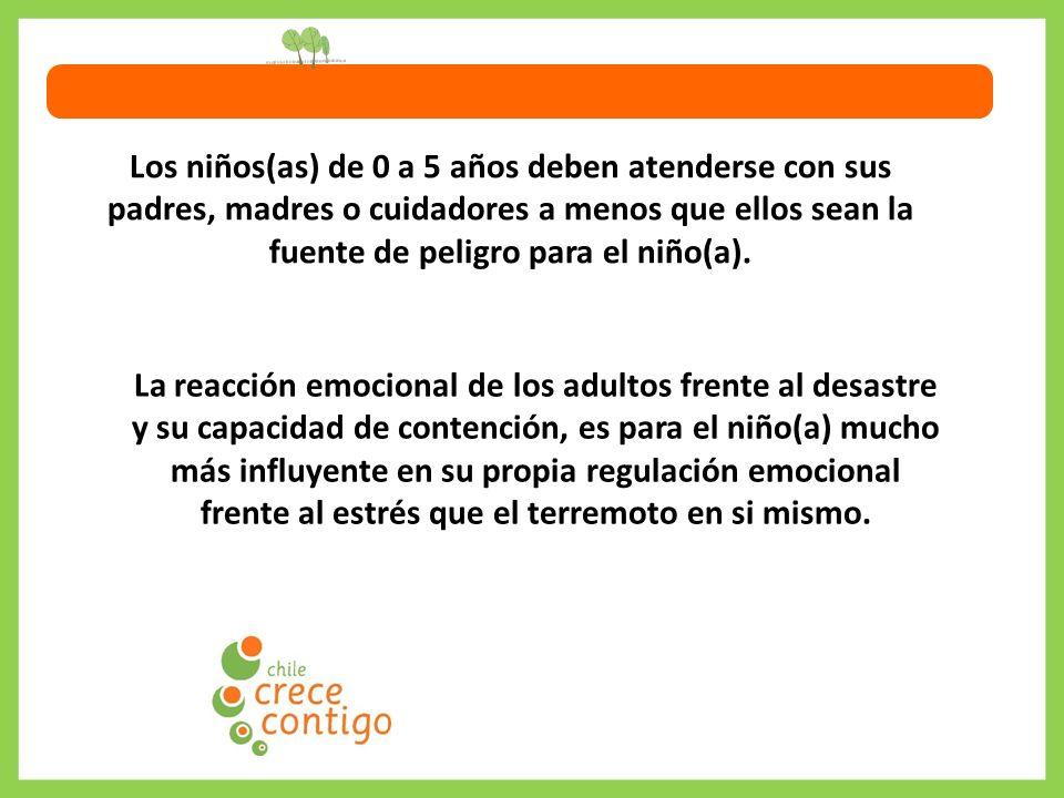 Los niños(as) de 0 a 5 años deben atenderse con sus padres, madres o cuidadores a menos que ellos sean la fuente de peligro para el niño(a).