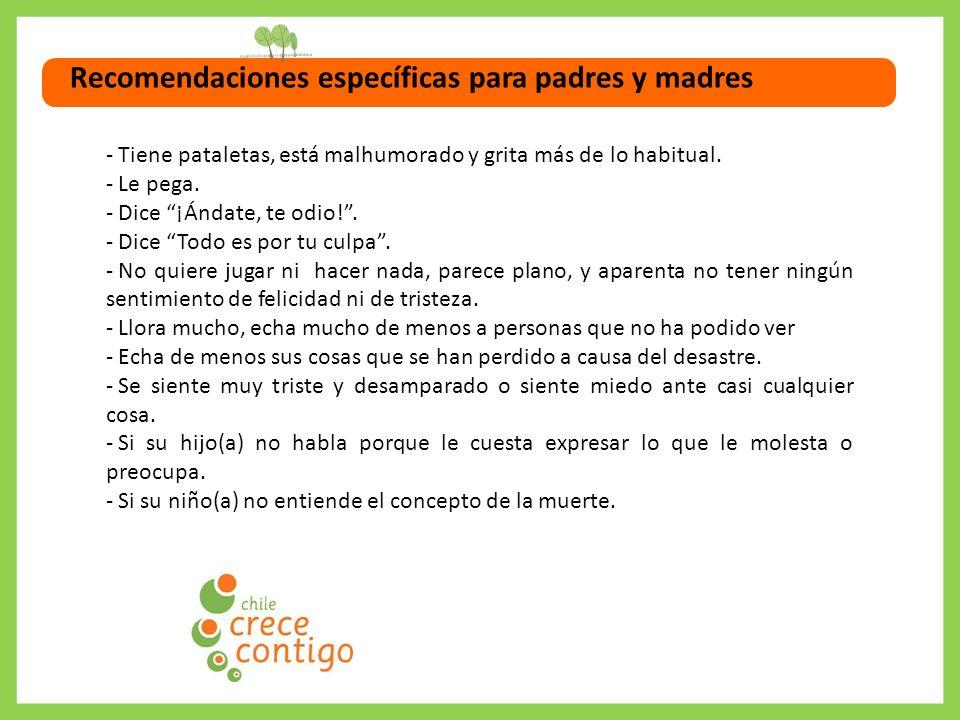 Recomendaciones específicas para padres y madres