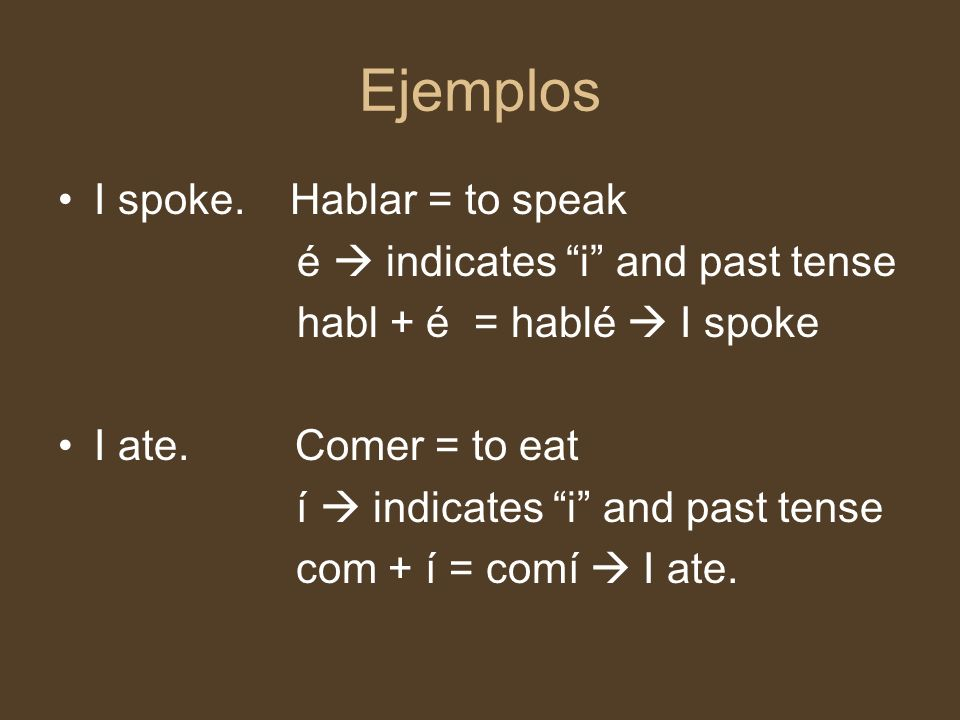 Ejemplos I spoke. Hablar = to speak é  indicates i and past tense