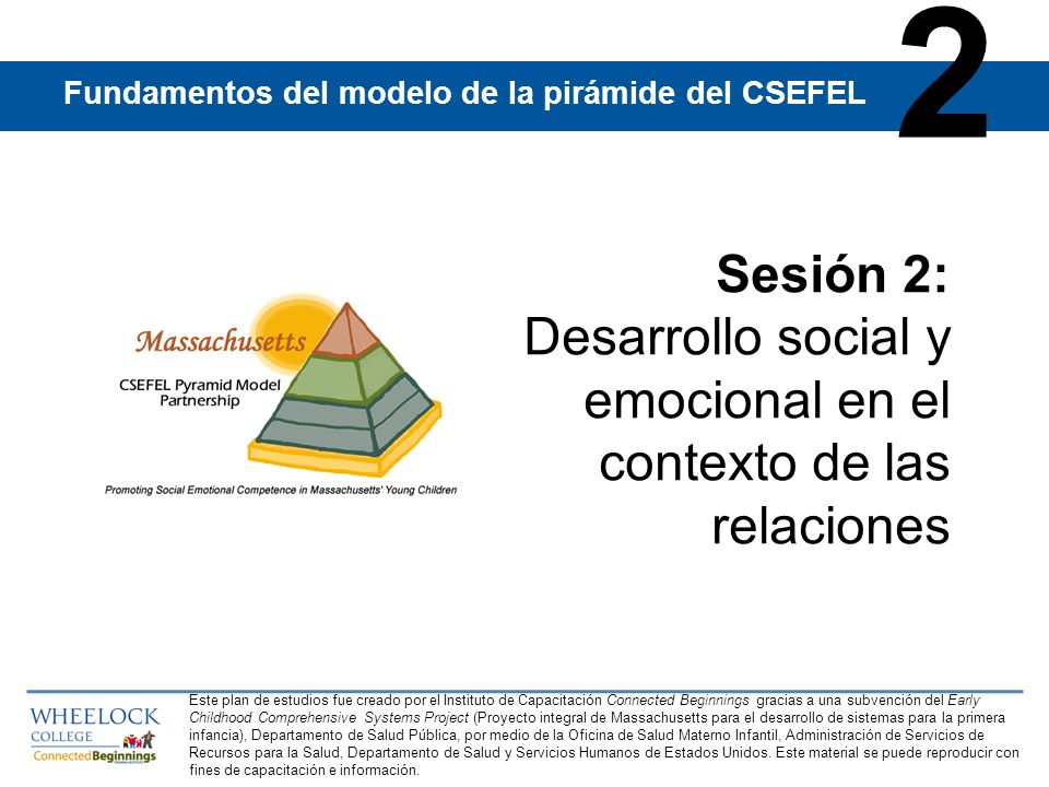 2Fundamentos del modelo de la pirámide del CSEFEL. Sesión 2: Desarrollo social y emocional en el contexto de las relaciones.