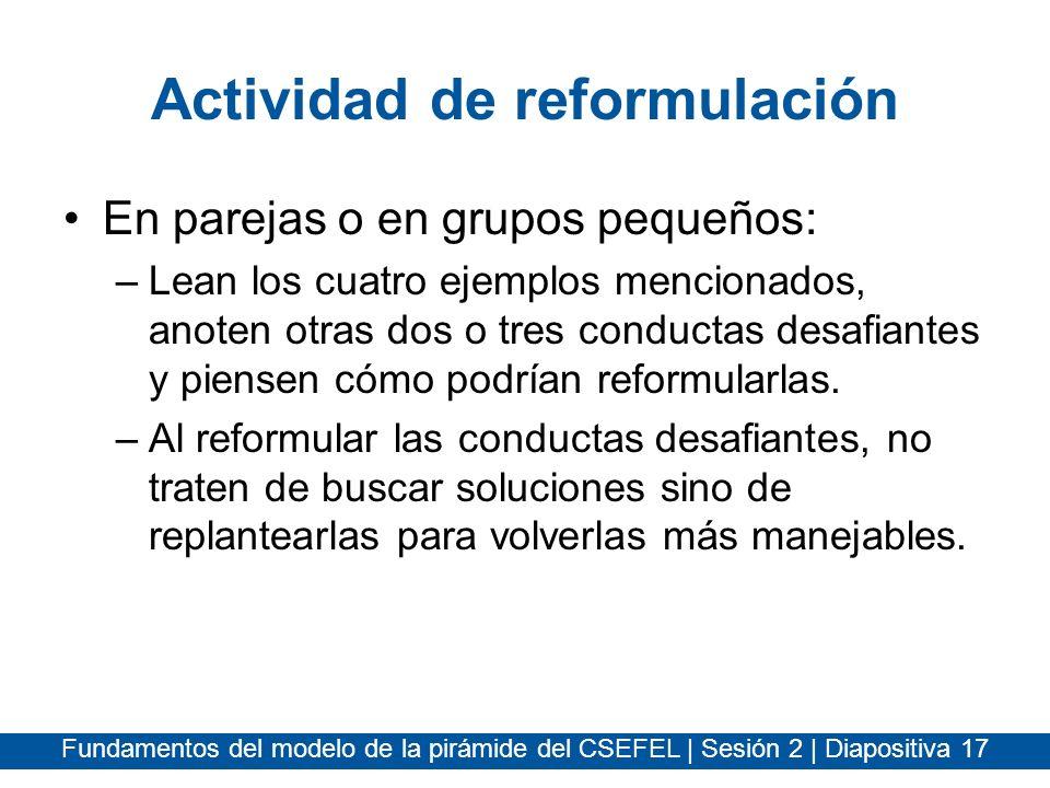 Actividad de reformulación