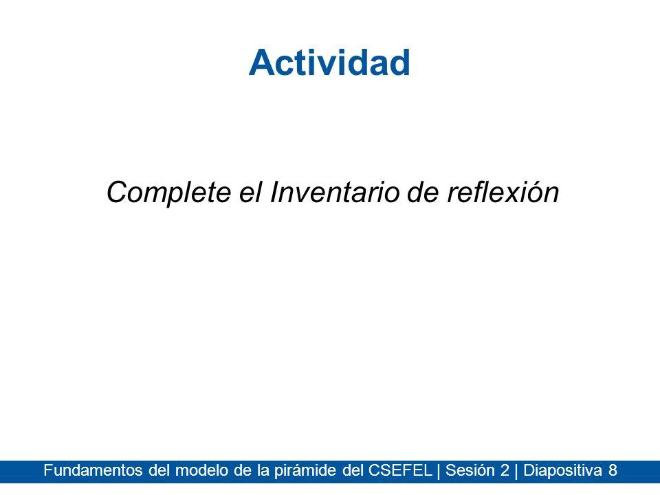 Actividad Complete el Inventario de reflexión