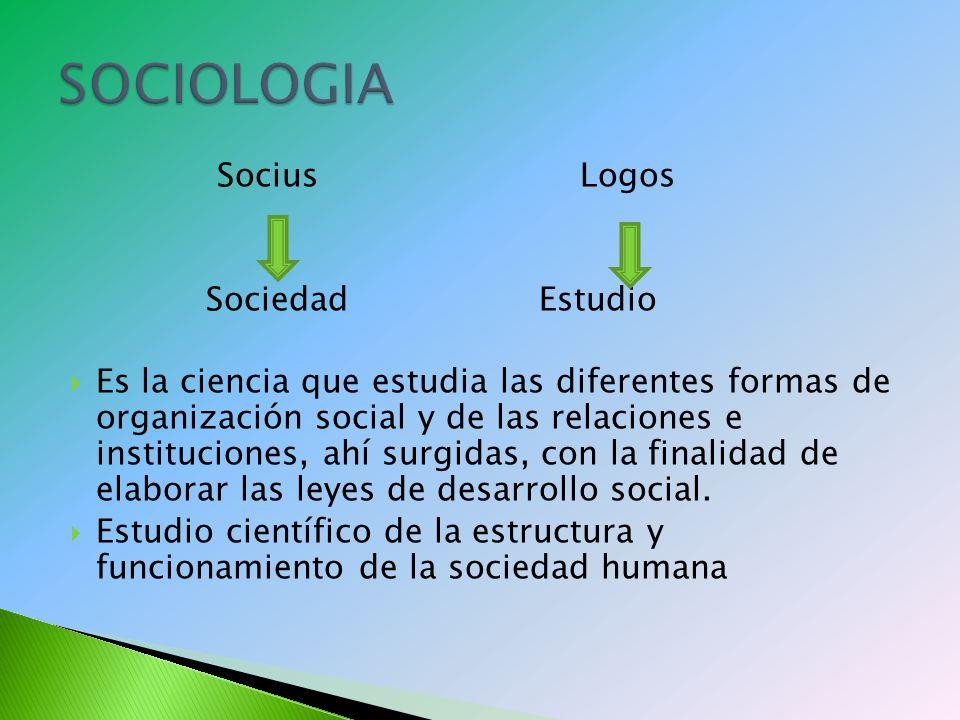 SOCIOLOGIA Socius Logos Sociedad Estudio