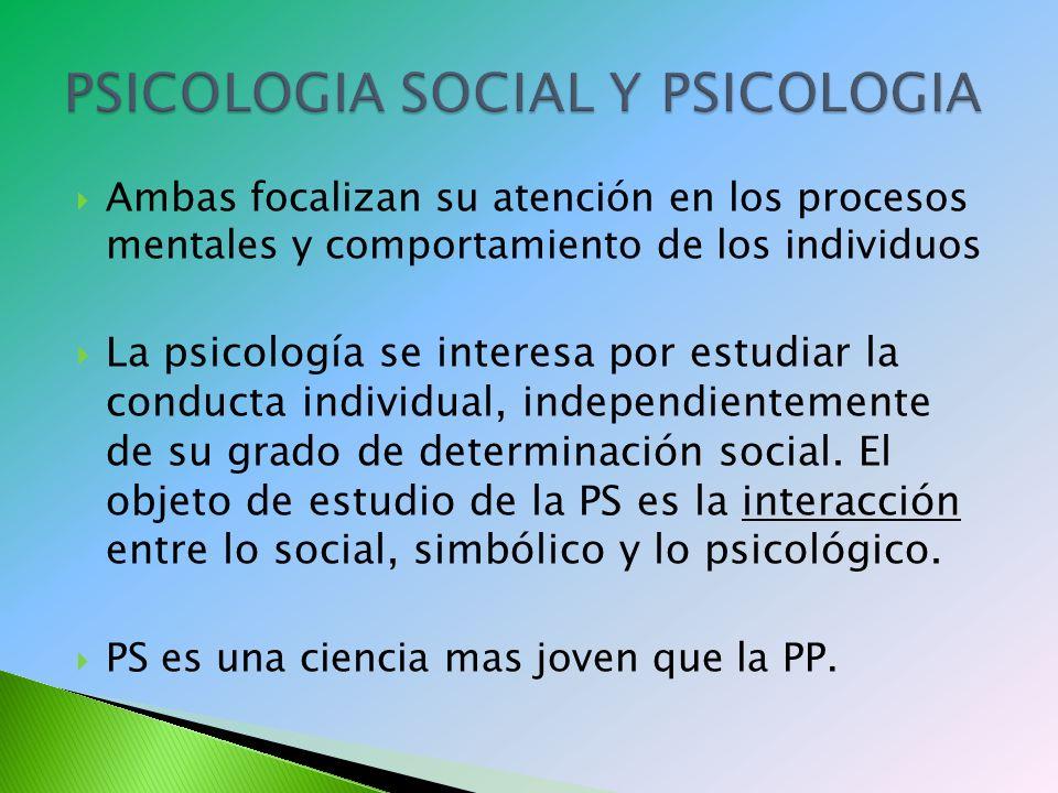 PSICOLOGIA SOCIAL Y PSICOLOGIA