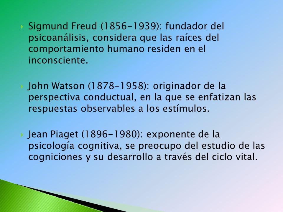 Sigmund Freud (1856-1939): fundador del psicoanálisis, considera que las raíces del comportamiento humano residen en el inconsciente.