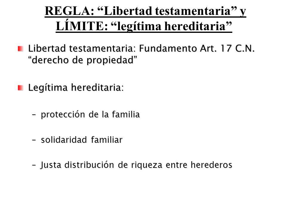 REGLA: Libertad testamentaria y LÍMITE: legítima hereditaria