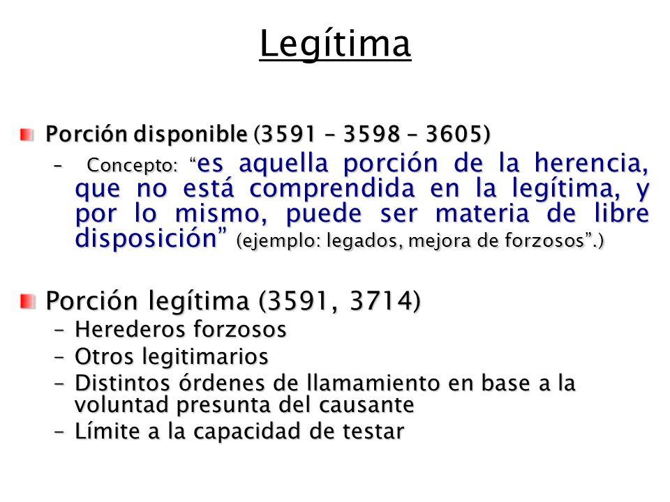 Legítima Porción legítima (3591, 3714)