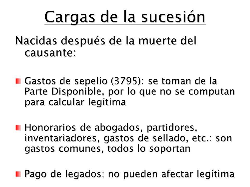 Cargas de la sucesión Nacidas después de la muerte del causante: