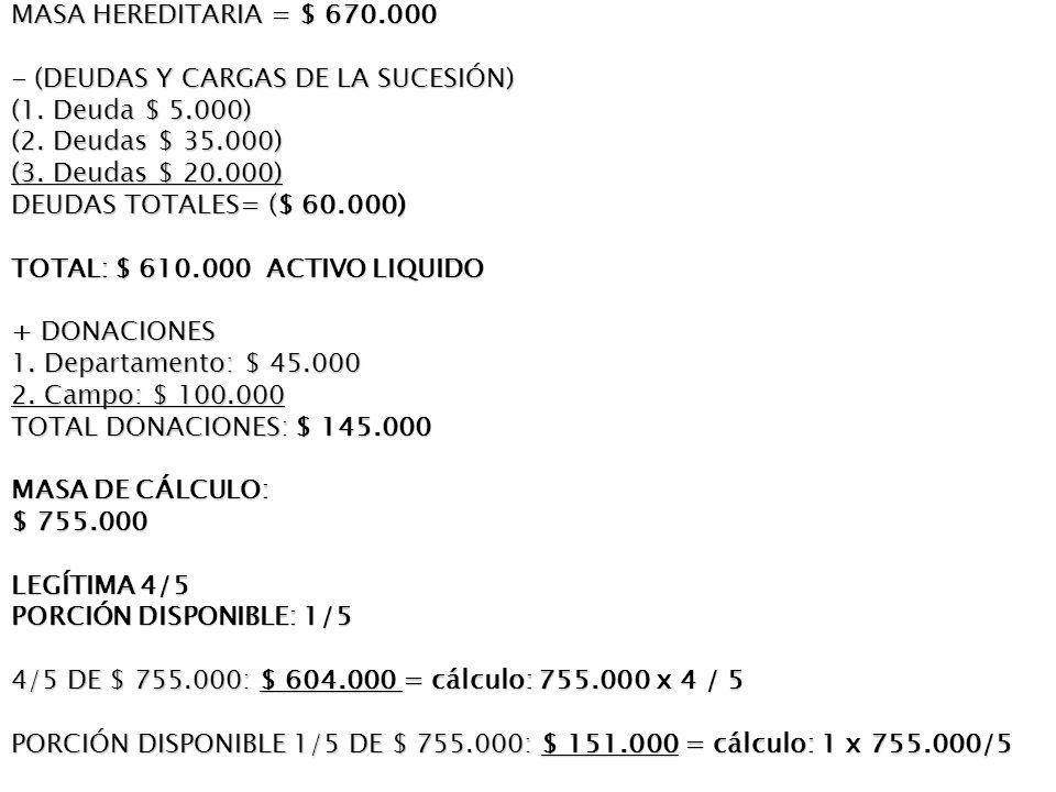 MASA HEREDITARIA = $ 670.000 - (DEUDAS Y CARGAS DE LA SUCESIÓN) (1. Deuda $ 5.000) (2. Deudas $ 35.000)