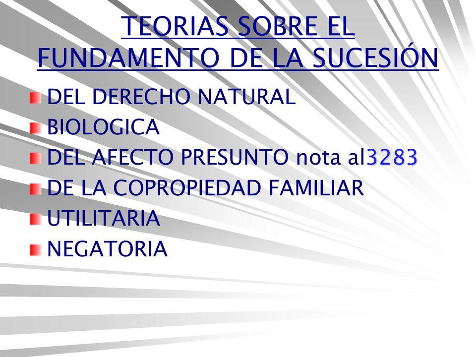 TEORIAS SOBRE EL FUNDAMENTO DE LA SUCESIÓN