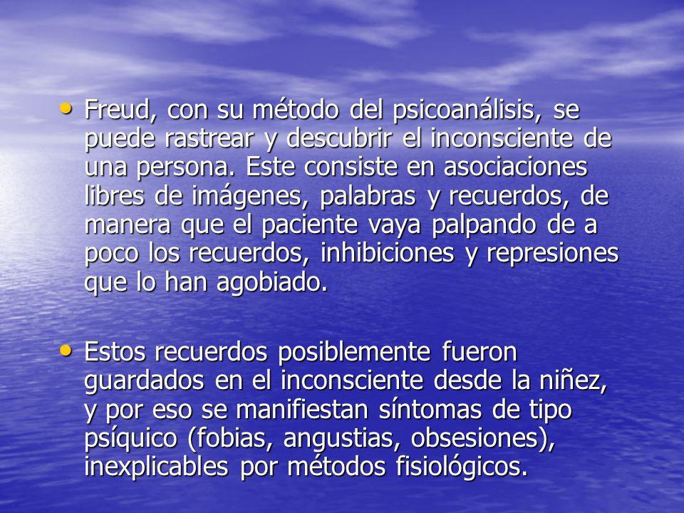 Freud, con su método del psicoanálisis, se puede rastrear y descubrir el inconsciente de una persona. Este consiste en asociaciones libres de imágenes, palabras y recuerdos, de manera que el paciente vaya palpando de a poco los recuerdos, inhibiciones y represiones que lo han agobiado.