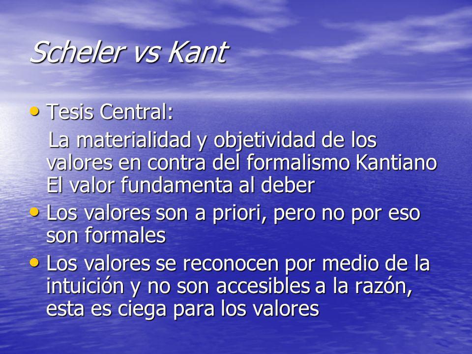 Scheler vs Kant Tesis Central:
