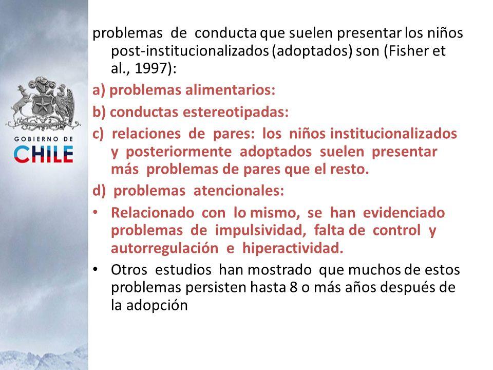 problemas de conducta que suelen presentar los niños post-institucionalizados (adoptados) son (Fisher et al., 1997):