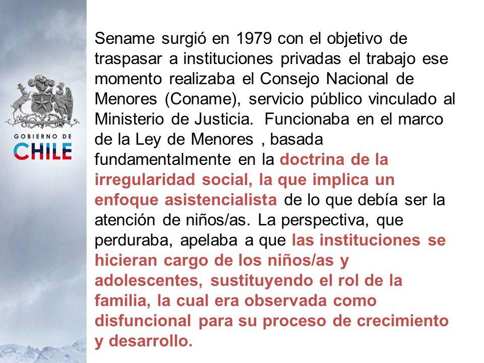 Sename surgió en 1979 con el objetivo de traspasar a instituciones privadas el trabajo ese momento realizaba el Consejo Nacional de Menores (Coname), servicio público vinculado al Ministerio de Justicia.