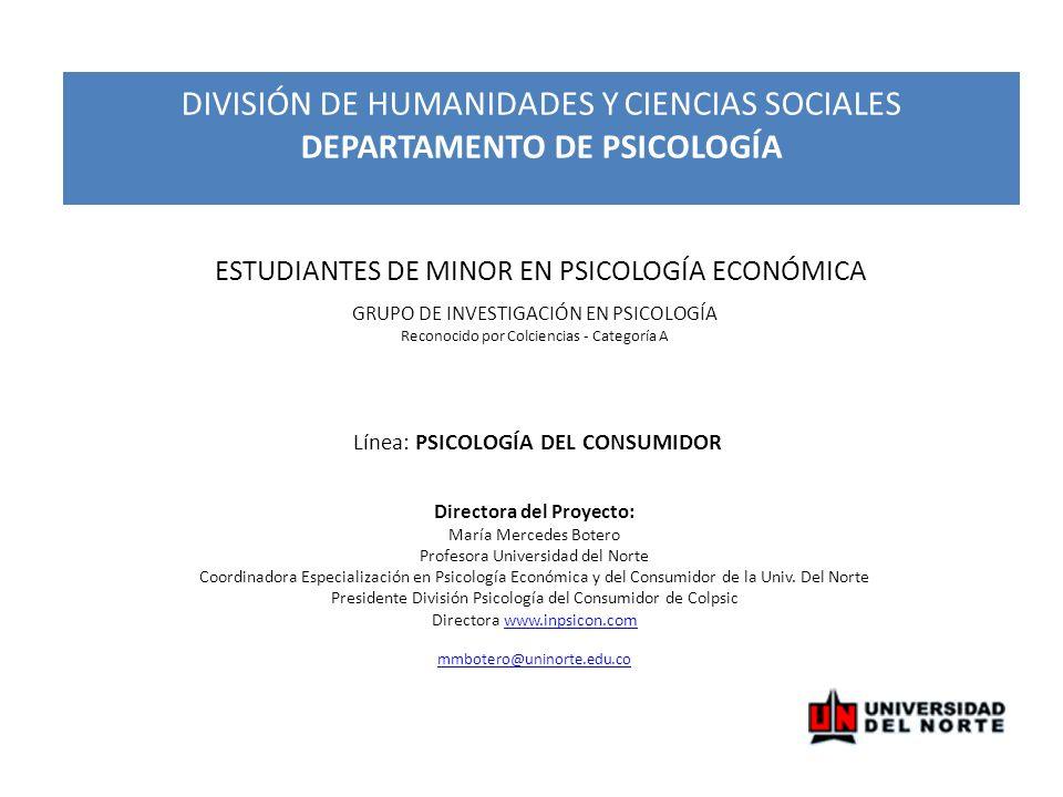 DIVISIÓN DE HUMANIDADES Y CIENCIAS SOCIALES DEPARTAMENTO DE PSICOLOGÍA
