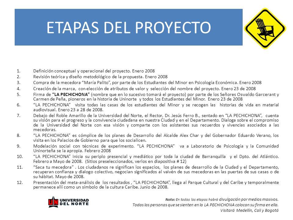 ETAPAS DEL PROYECTO Definición conceptual y operacional del proyecto. Enero 2008.