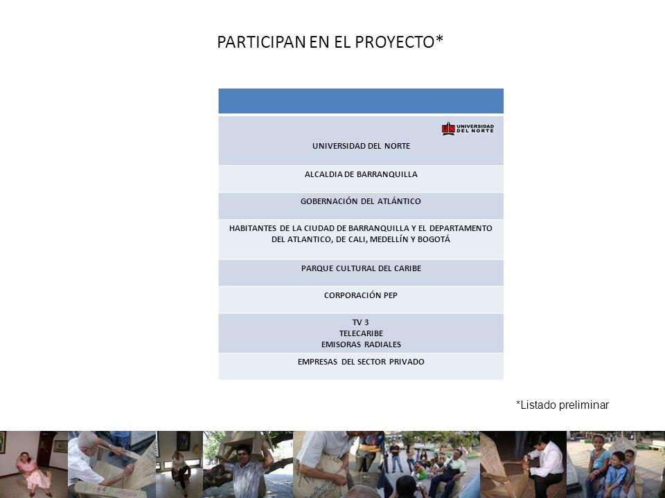 PARTICIPAN EN EL PROYECTO*