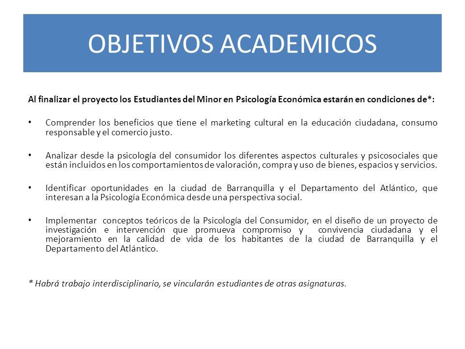 OBJETIVOS ACADEMICOS Al finalizar el proyecto los Estudiantes del Minor en Psicología Económica estarán en condiciones de*: