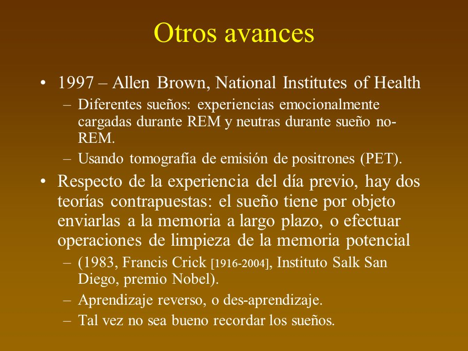 Otros avances 1997 – Allen Brown, National Institutes of Health
