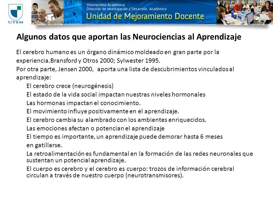 Algunos datos que aportan las Neurociencias al Aprendizaje