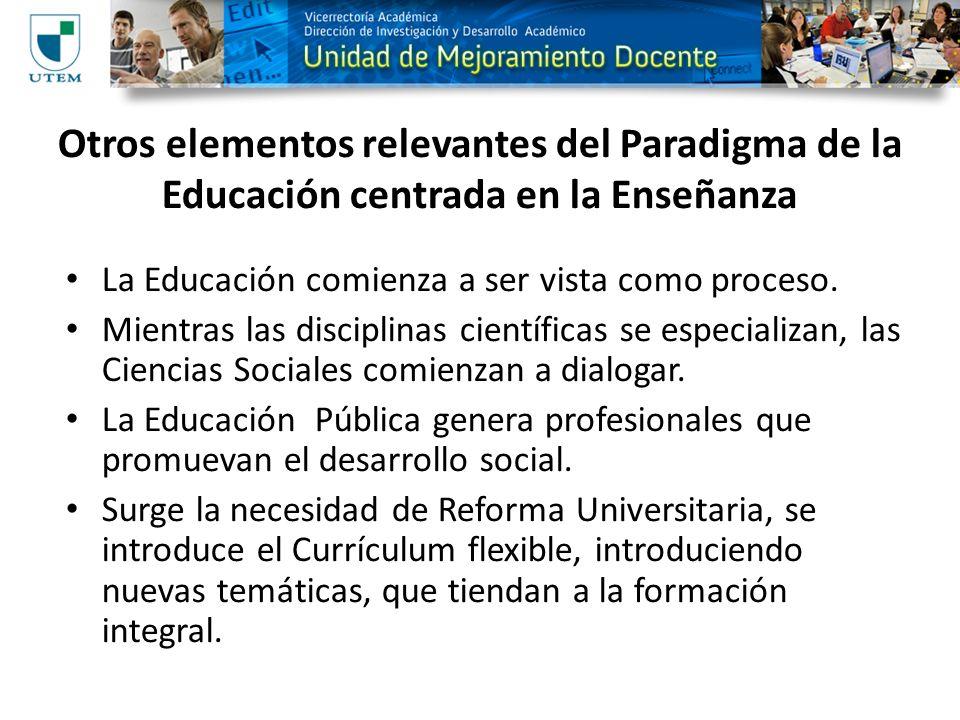 Otros elementos relevantes del Paradigma de la Educación centrada en la Enseñanza